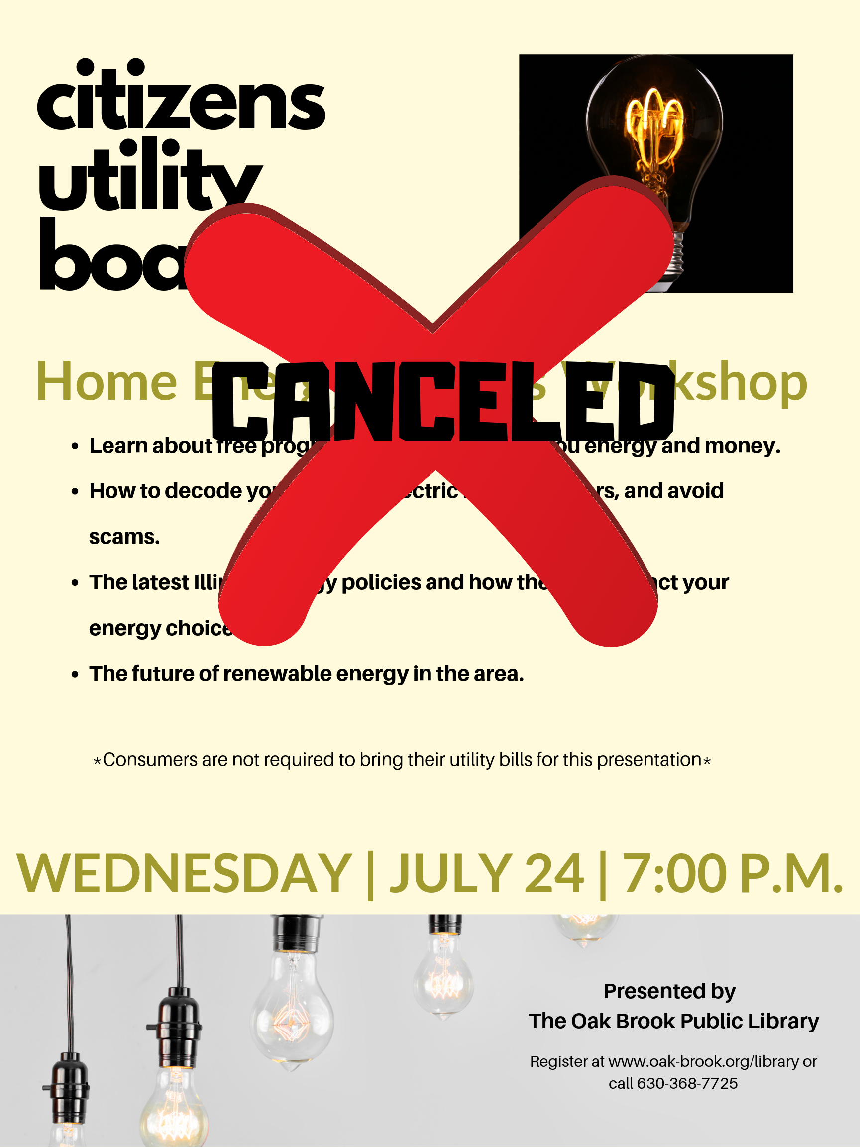 CANCELED: Citizens Utility Board: Home Energy Savings Workshop