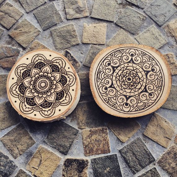Curb-Side Pick Up Draw Your Own Mandala Wooden Coaster.