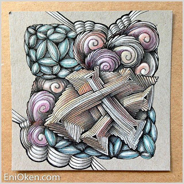 Zentangled Letters on Gray Tiles w/ Sheryl