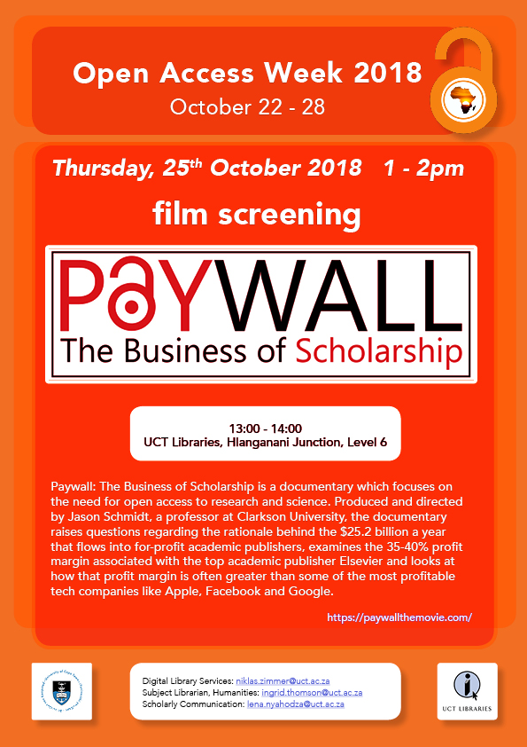 Open Access Week:   Invitation to Film Screening:   Paywall: The Business of Scholarship