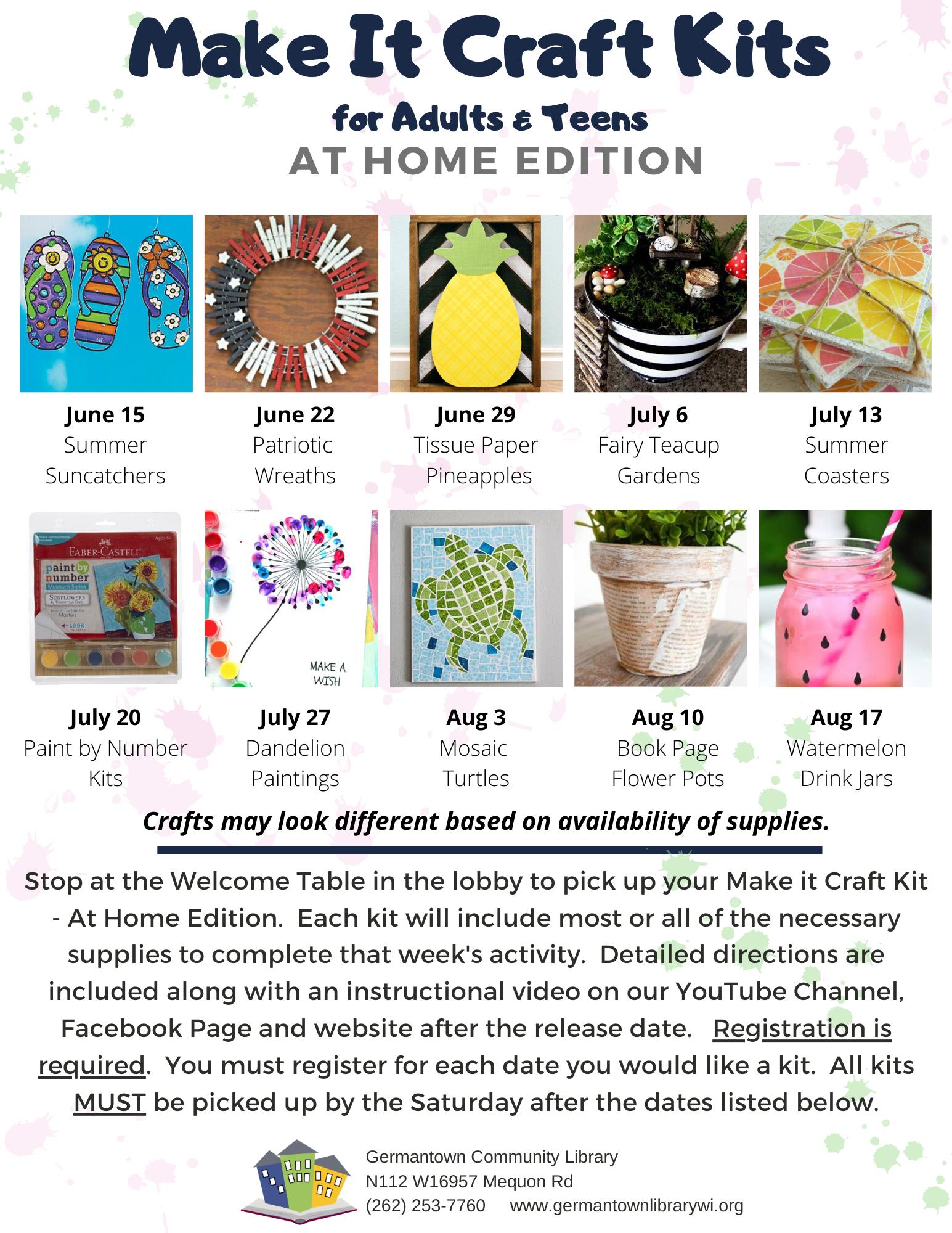 Make It Craft Kits - At Home Edition (Watermelon Drink Jars)