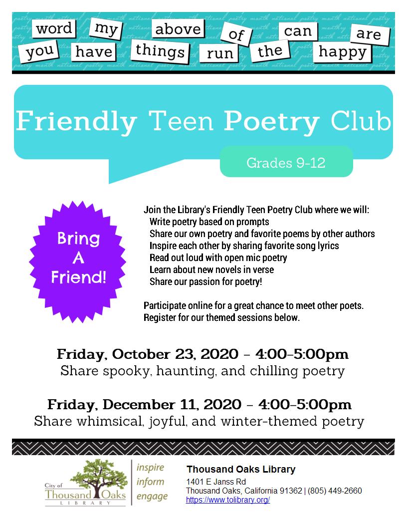 Friendly Teen Poetry Club