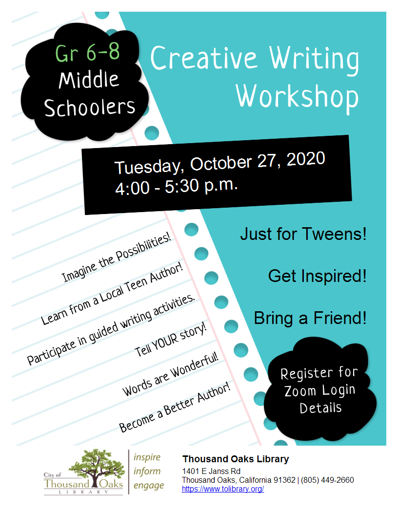 Creative Writing Workshop - for Middle Schoolers