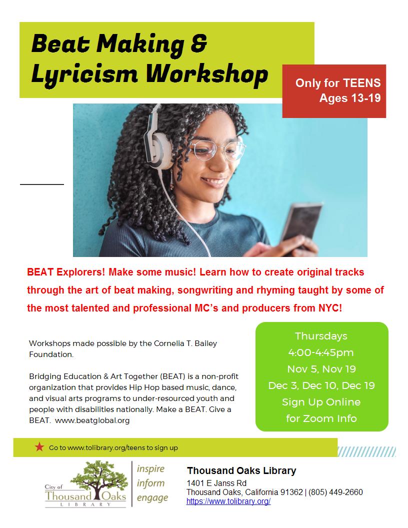 Beat Making & Lyricism Workshop- BEAT Explorers