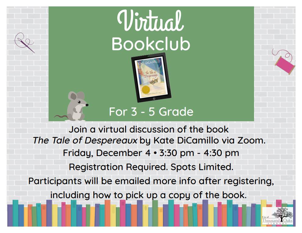 Virtual Book Club (Grades 3 - 5) The Tale of Despereaux
