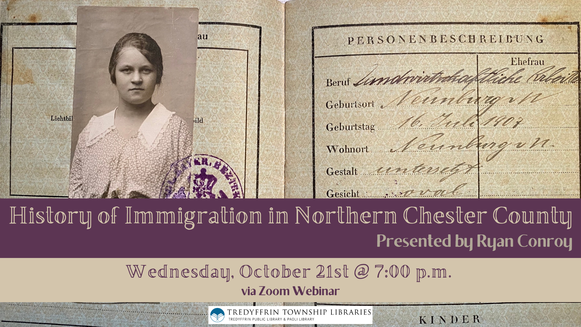 History of Immigration in Northern Chester County presented by Ryan Conroy