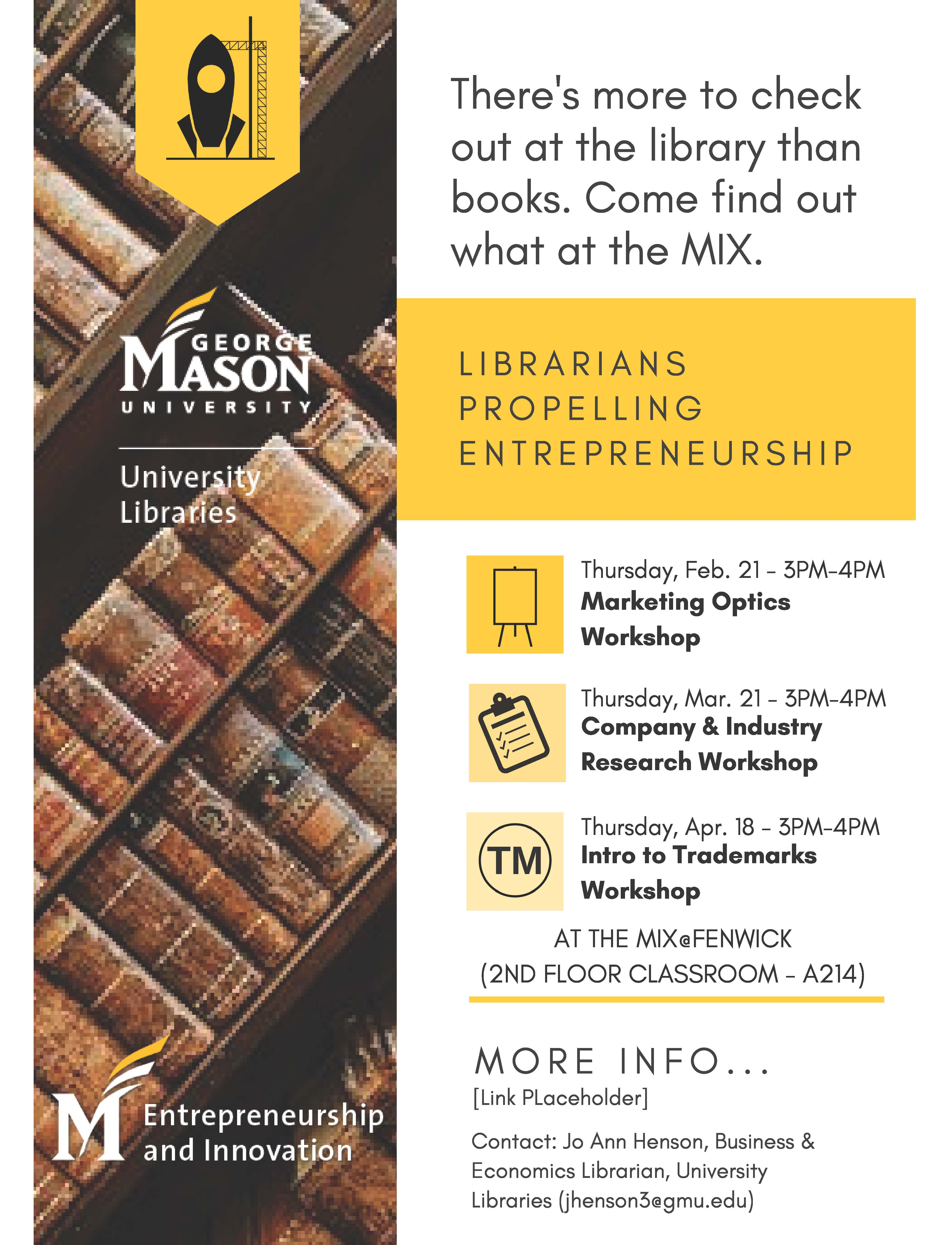 Library resources and skills for Entrepreneurship- At The MIX@FENWICK (2nd floor classroom, A214)