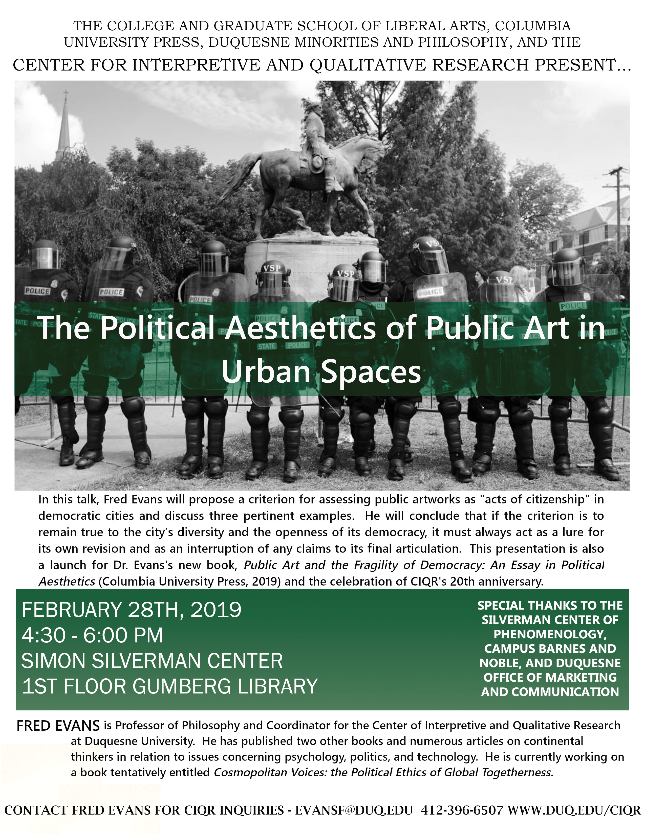 "CIQR Presents: ""The Political Aesthetics of Public Art in Urban Spaces"""
