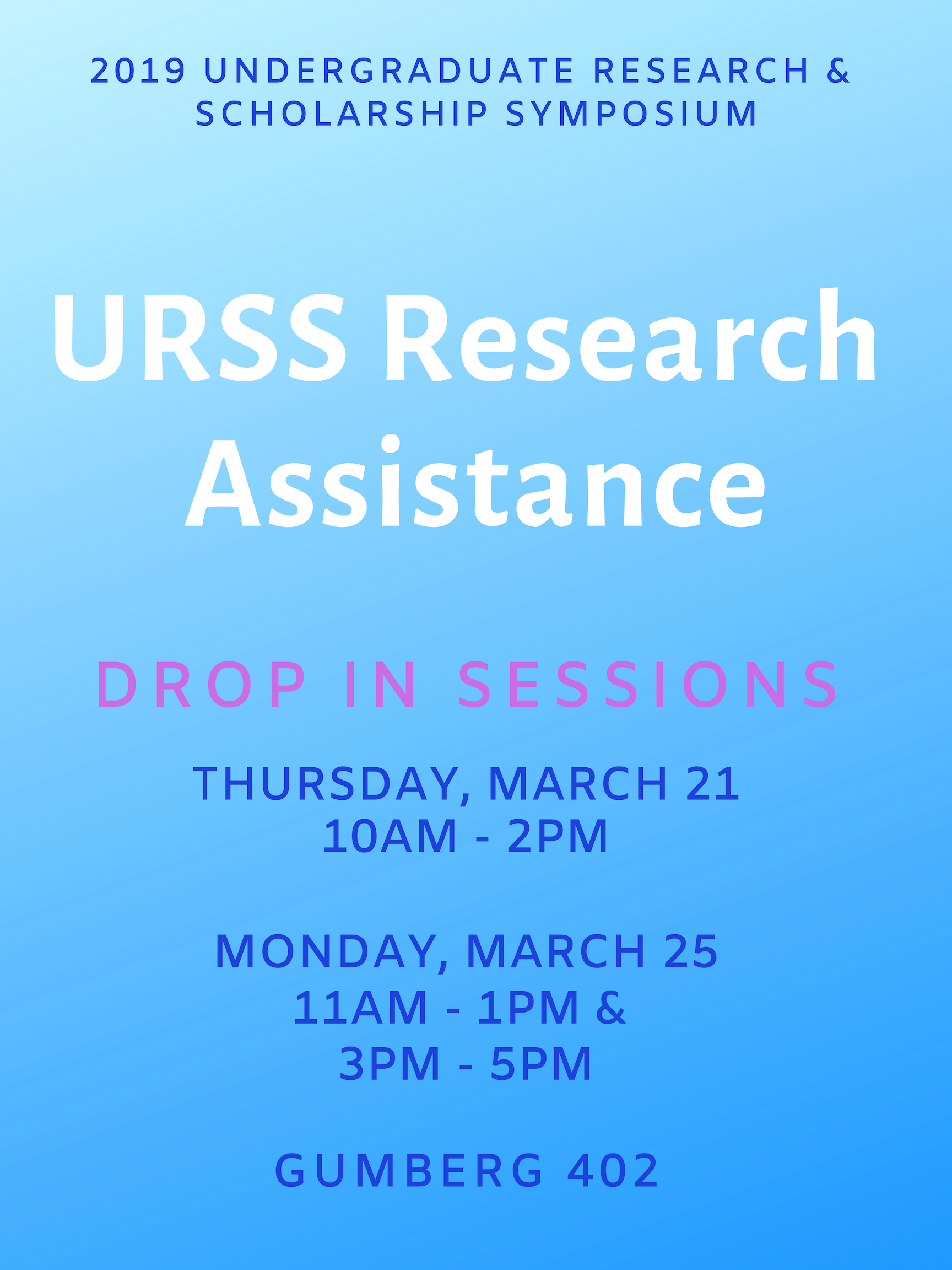 URSS Research Assistance Drop-in Session