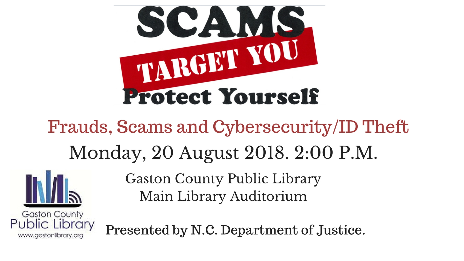 Protect Yourself from Scams, Frauds, and Cybersecurity/Identity Theft Threats