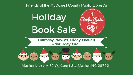 Holiday Book Sale, sponsored by the Friends of the Library