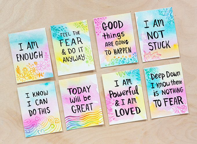 Make It Tuesday: Watercolor Affirmation Cards