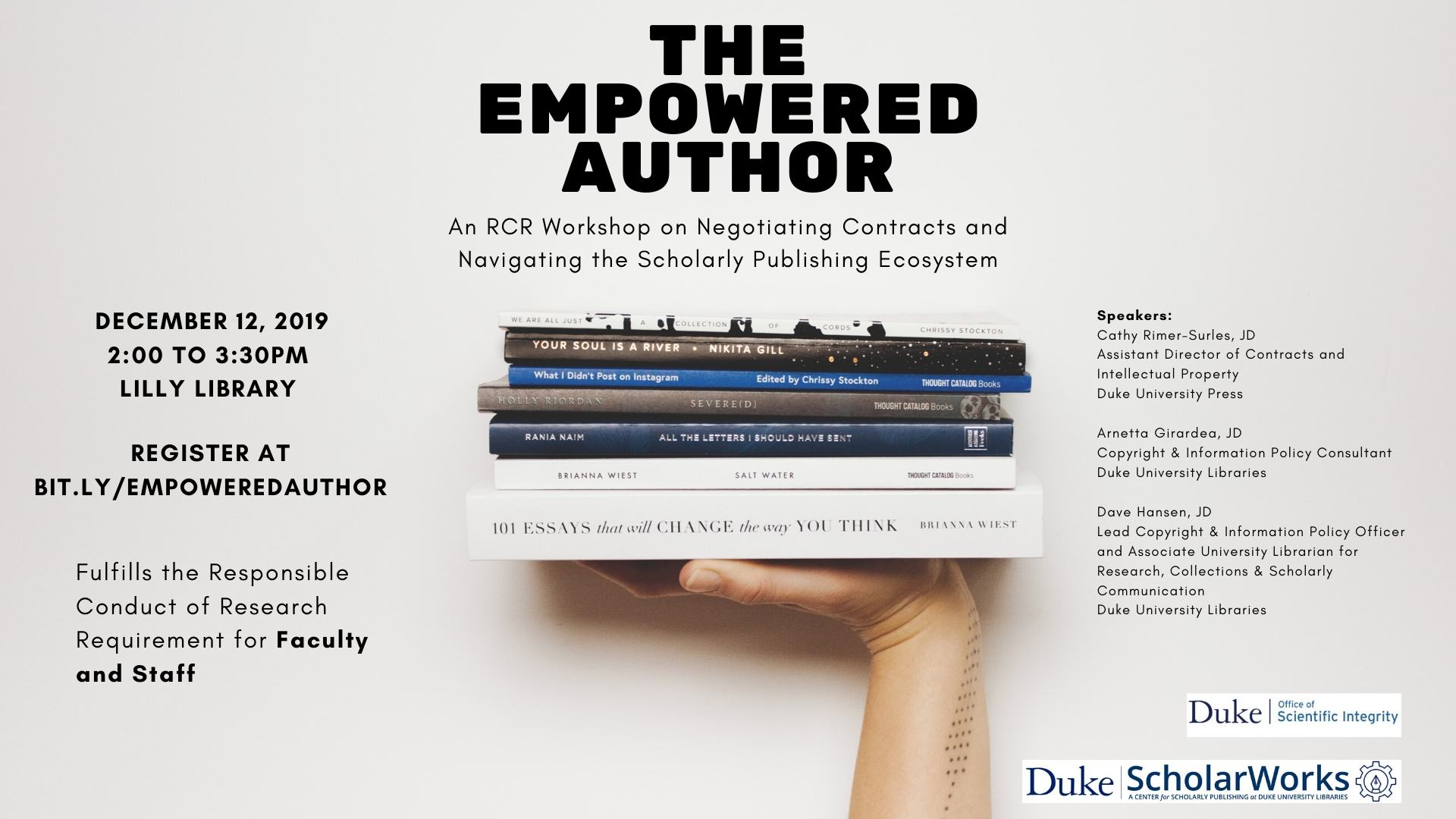 The Empowered Author: Negotiating Contracts and Navigating the Scholarly Publishing Ecosystem